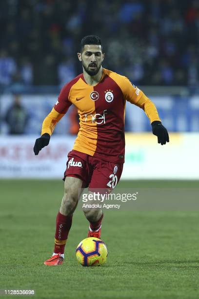 Emre Akbaba of Galatasaray in action during Turkish Super Lig soccer match between Buyuksehir Belediye Erzurumspor and Galatasaray at Kazim Karabekir...