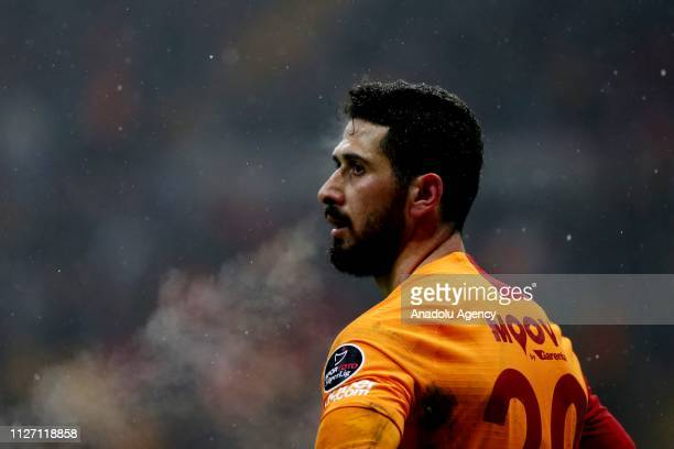 Emre Akbaba of Galatasaray reacts during the Turkish Super Lig soccer match between Galatasaray and Akhisarspor at Turk Telekom Stadium in Istanbul...