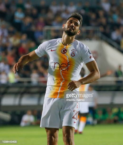 Emre Akbaba of Galatasaray reacts during Turkish Super Lig soccer match between Akhisarspor and Galatasaray at Spor Toto Akhisar Stadium in Manisa...