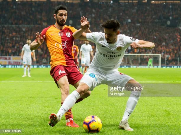 Emre Akbaba of Galatasaray SK Bahadir Ozturk of Antalyaspor AS during the Turkish Spor Toto Super Lig football match between Galatasaray SK and...