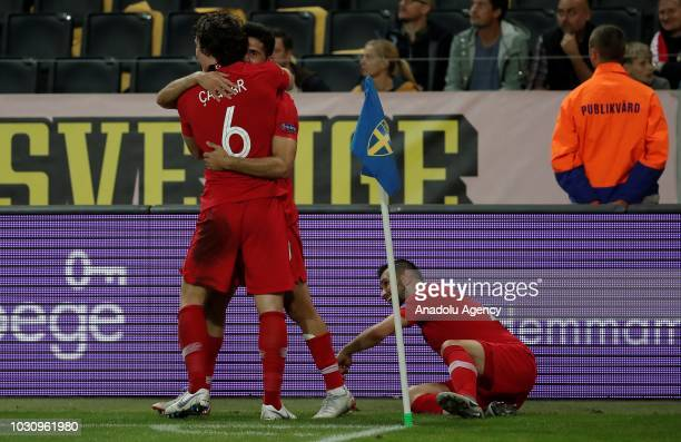 Emre Akbaba of Turkey celebrates with his team mate Caglar Soyuncu of Turkey after scoring a goal during the UEFA Nations League Group 2 of League B...
