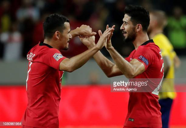 Emre Akbaba of Turkey celebrates with his team mate Serdar Gurler of Turkey after scoring a goal during the UEFA Nations League Group 2 of League B...