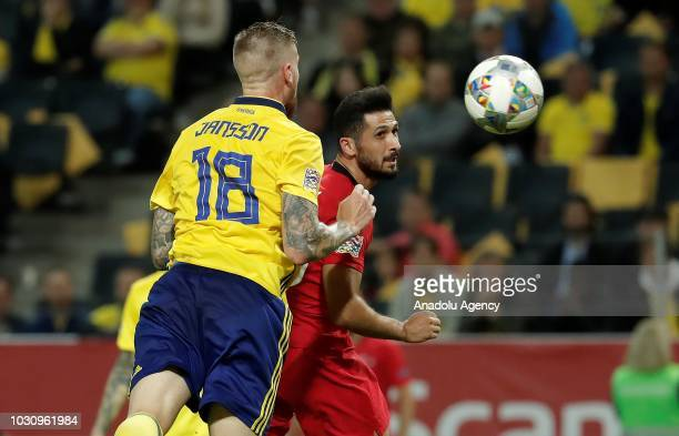 Emre Akbaba of Turkey in action against Jansson of Sweden during the UEFA Nations League Group 2 of League B soccer match between Sweden and Turkey...