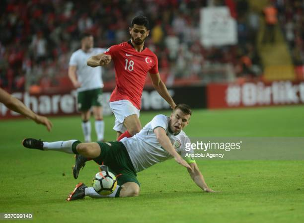 Emre Akbaba of Turkey in action against Seamus Coleman of Ireland during a friendly football match between Turkey and Ireland at New Antalya Stadium...