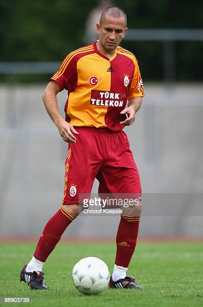 Emre Asik of Galatasaray runs with the ball during the Zayon Cup match between Galatasaray Istanbuch and Wydad AC Casablanca at the Lorheide stadium...