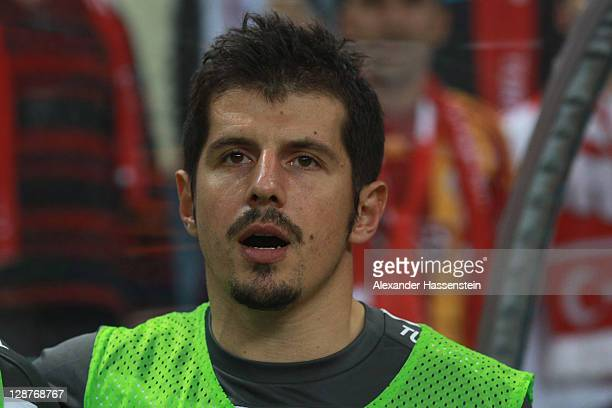 Emre Beloezoglu of Turkey pose at the line up prior the UEFA EURO 2012 Group A qualifying match between Turkey and Germany at Tuerk Telekom Arena on...