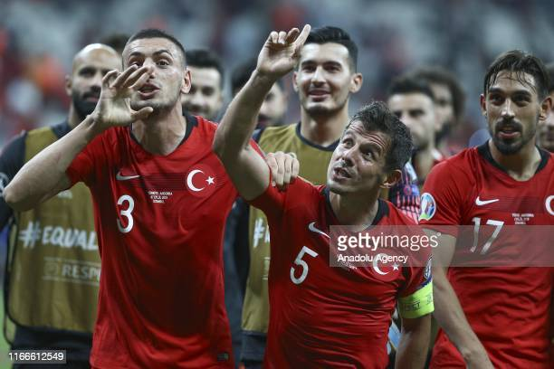 Emre Belozoglu and Merih Demiral of Turkey greet fans after UEFA Euro 2020 European Championship Qualifiers Group H match between Turkey and Andorra...