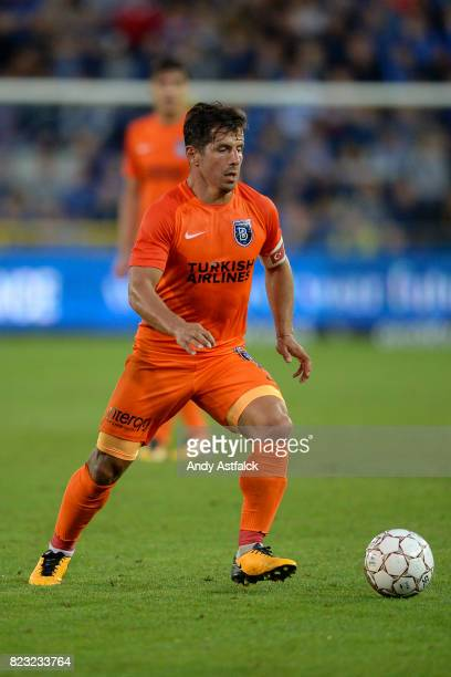 Emre Belozoglu from Istanbul Basaksehir during the Champions League Third Round Qualifier First Leg match between Club Brugge and Istanbul Basaksehir...