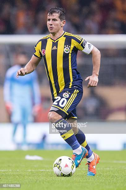Emre Belozoglu of Fenerbahce during the Turkish SuperLig match between Galatasaray and Fenerbahce on October 18 2014 at the Turk Telekom Arena in...