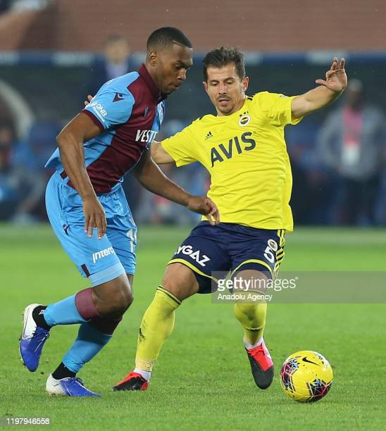 Emre Belozoglu of Fenerbahce in action against Daniel Sturridge of Trabzonspor during Turkish Super Lig soccer match between Trabzonspor and...