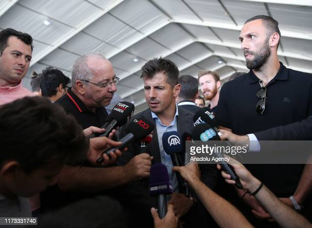Emre Belozoglu of Fenerbahce speaks to press with Vedat Muriqi of Fenerbahce during the 4th Etnospor Culture Festival at Ataturk Airport Istanbul...
