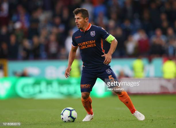 Emre Belozoglu of Istanbul Basaksehir controls the ball during the UEFA Europa League third round qualifier second leg match between Burnley and...