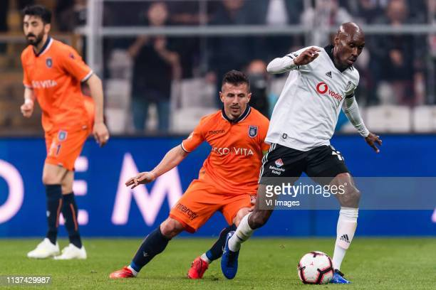 Emre Belozoglu of Istanbul Medipol Basaksehir FK Atiba Hutchinson of Besiktas JK during the Turkish Spor Toto Super Lig football match between...