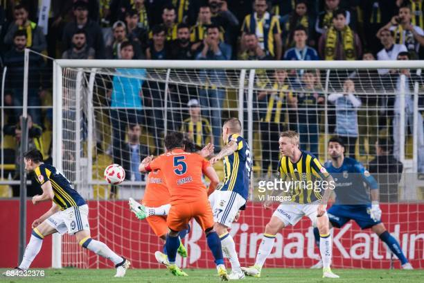 Emre Belozoglu of Istanbul Medipol Basaksehir FK scoresduring the Turkish Spor Toto Super Lig football match between Fenerbahce and Medipol...