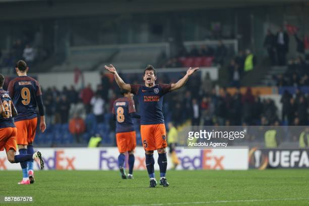 Emre Belozoglu of Medipol Basaksehir celebrates after scoring a goal during UEFA Europa League Group C soccer match between Medipol Basaksehir and...