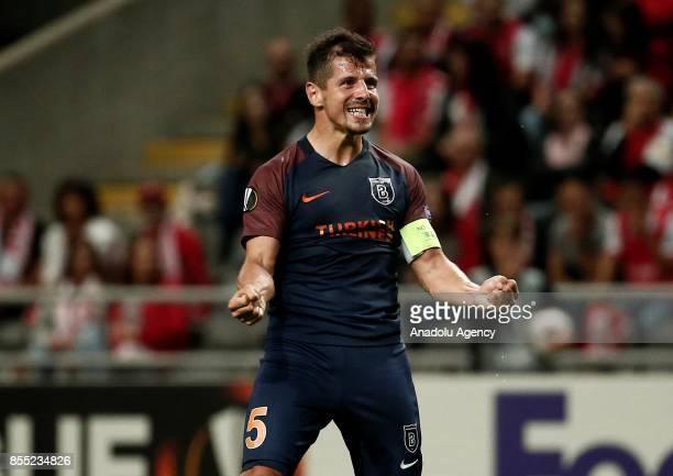 Emre Belozoglu of Medipol Basaksehir celebrates his goal during the UEFA Europa League Group C match between Sporting Braga and Medipol Basaksehir at...