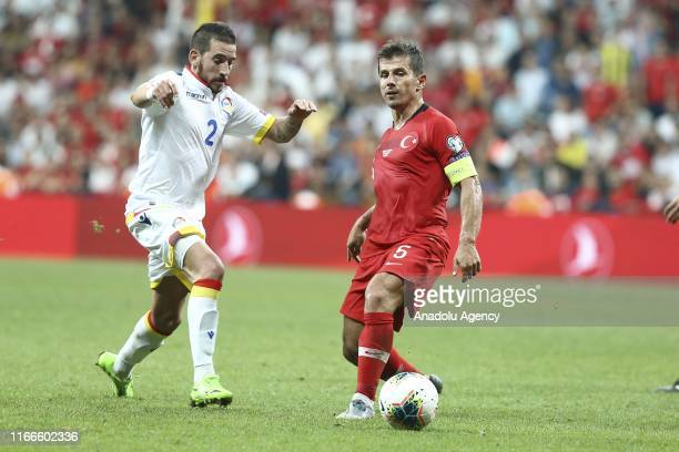 Emre Belozoglu of Turkey in action against Cristian Martinez of Andorra during UEFA Euro 2020 European Championship Qualifiers Group H match between...