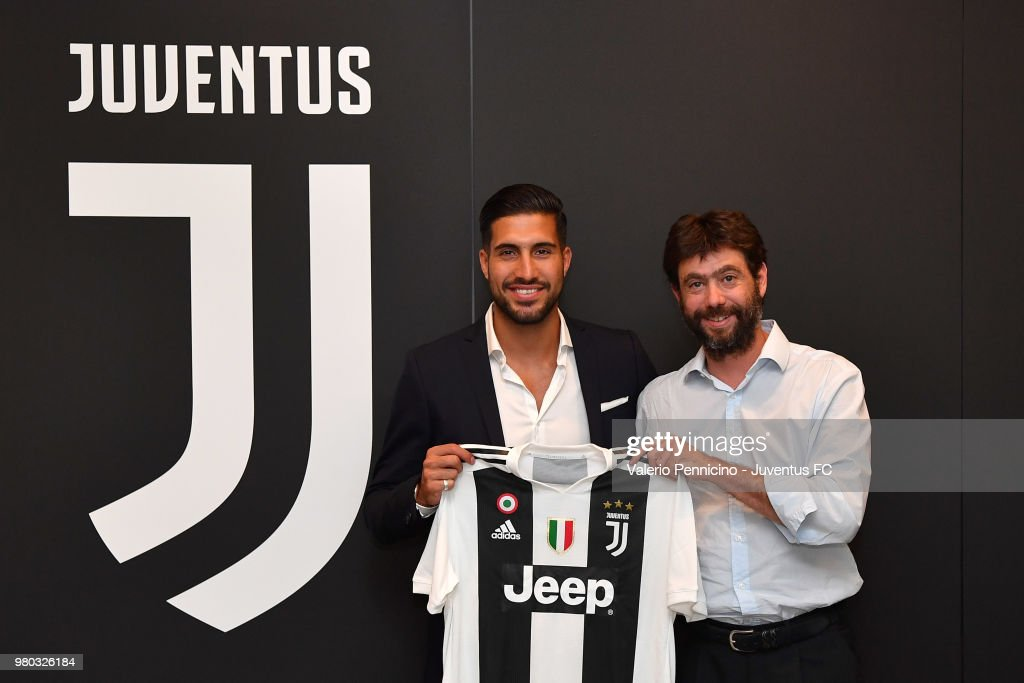 Emre Can and Andrea Agnelli are seen after signing a contract with Juventus at Juventus headquarters on June 21, 2018 in Turin, Italy.