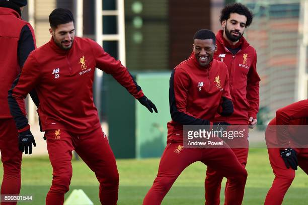 Emre Can and Georginio Wijnaldum of Liverpool during a training session at Melwood Training Ground on December 28 2017 in Liverpool England