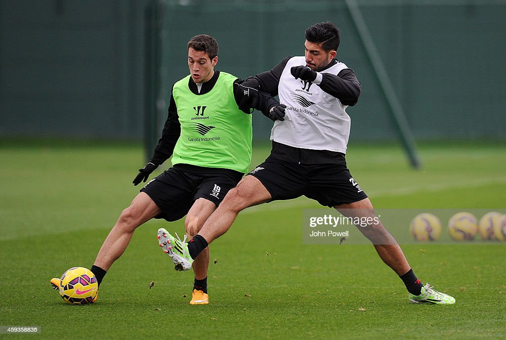 Emre Can and Javier Manquilo of Liverpool during a training session at Melwood Training Ground on November 21, 2014 in Liverpool, England.