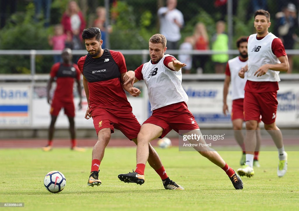 Emre Can and Jordan Henderson of Liverpool during a training session at Rottach-Egern on July 27, 2017 in Munich, Germany.
