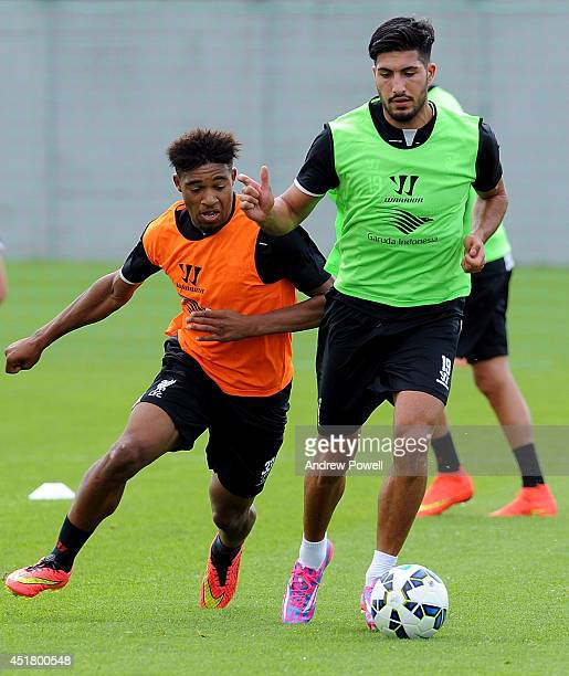 Emre Can and Jordon Ibe of Liverpool in action during the first training session of the season at Melwood Training Ground on July 7 2014 in Liverpool...