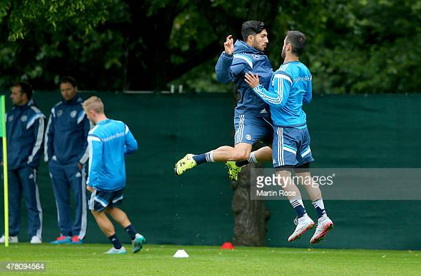 Emre Can and Kerem Demirbay of Germany in action during a training session ahead of the UEFA European Under21 Group A match against Czech Republic at...