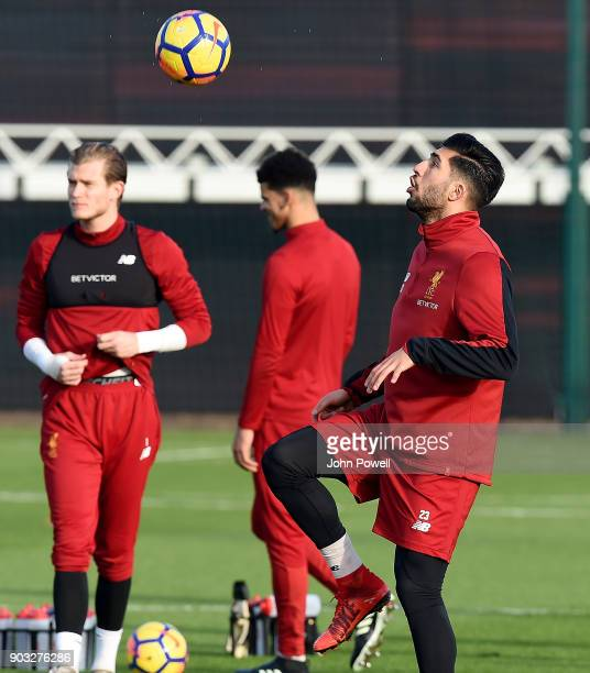 Emre Can and Loris Karius of Liverpool during a training session at Melwood Training Ground on January 10 2018 in Liverpool England