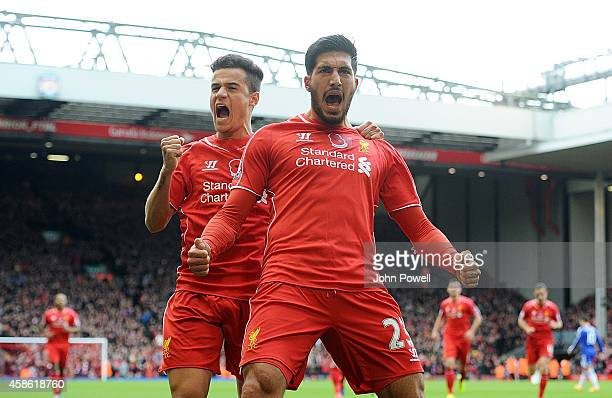 Emre Can and Philippe Coutinho of Liverpool celebrate the first goal scored by Emre Can during the Barclays Premier League match between Liverpool...