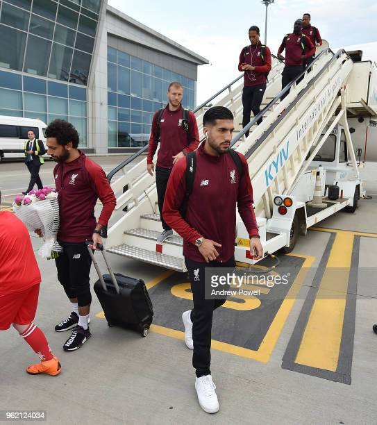 Emre Can and Ragnar Klavan of Liverpool arrives in Kiev for the UEFA Champions League Final at Mizhnarodnyy Aeroport on May 24 2018 in Liverpool...