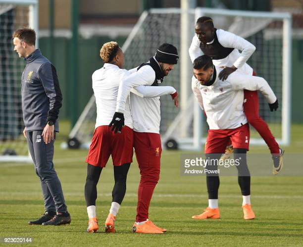 Emre Can and Sadio Mane of Liverpool during a training session at Melwood Training Ground on February 22 2018 in Liverpool England