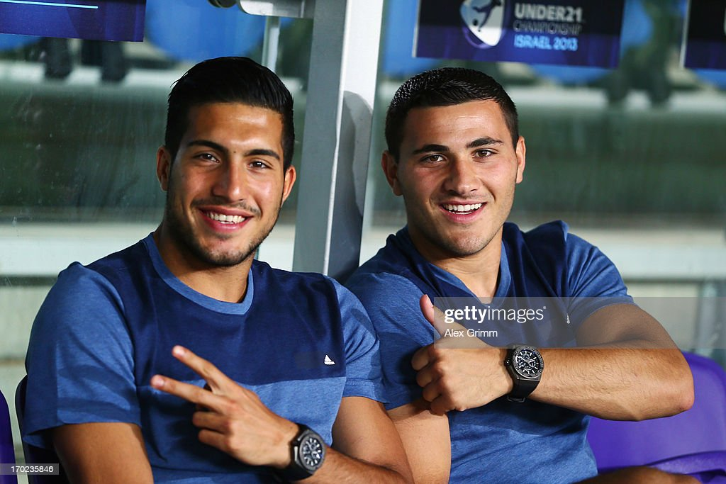 Emre Can (L) and Sead Kolasinac of Germany pose on the bench prior to the UEFA European U21 Champiosnship Group B match between Germany and Spain at Netanya Stadium on June 9, 2013 in Netanya, Israel.