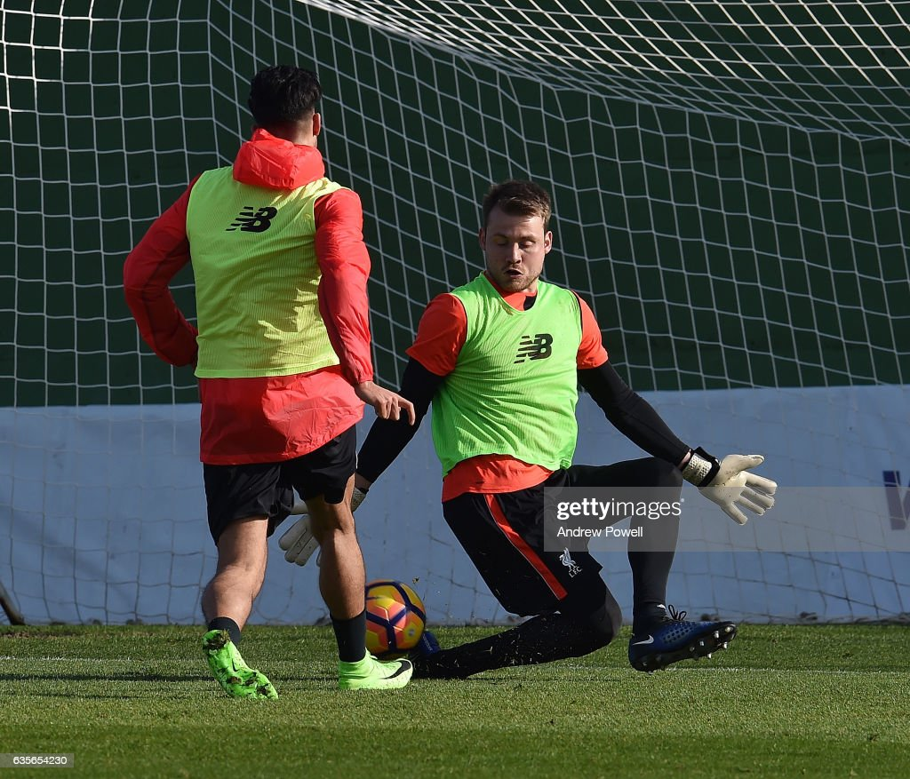 Emre Can and Simon Mignolet of Liverpool during a training session at La Manga on February 16, 2017 in La Manga, Spain.