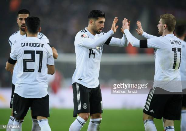 Emre Can and Timo Werner of Germany celebrate during the International friendly match between Germany and France at RheinEnergieStadion on November...