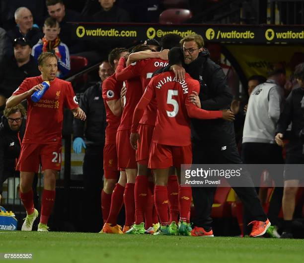 Emre Can Celebrates his goal for Liverpool during the Premier League match between Watford and Liverpool at Vicarage Road on May 1 2017 in Watford...