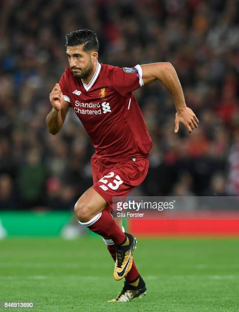 Emre Can in action during the UEFA Champions League group E match between Liverpool FC and Sevilla FC at Anfield on September 13 2017 in Liverpool...