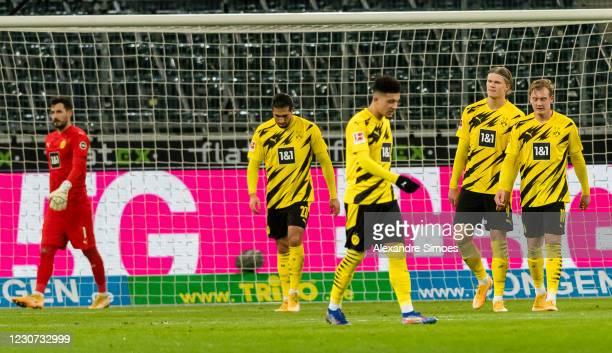 Emre Can, Jadon Sancho, Erling Haaland and Julian Brandt of Borussia Dortmund during the Bundesliga match between Borussia Moenchengladbach and...