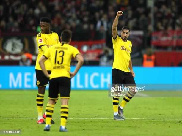 Emre Can of Borussia Dortmund celebrates after scoring his team's second goal during the Bundesliga match between Bayer 04 Leverkusen and Borussia...