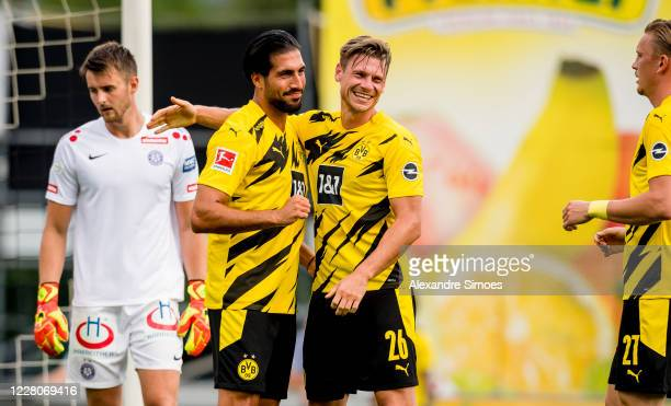 Emre Can of Borussia Dortmund celebrates scoring his goal to the 2:6 during a friendly match against FK Austria Wien as part of the training camp on...