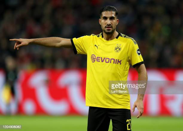 Emre Can of Dortmund gestures during the Bundesliga match between Bayer 04 Leverkusen and Borussia Dortmund at BayArena on February 08, 2020 in...