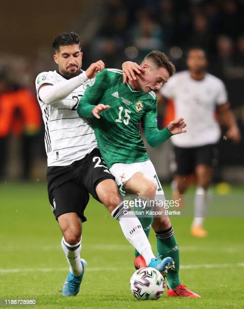 Emre Can of Germany battles for possession with Jordan Thompson of Northern Ireland during the UEFA Euro 2020 Qualifier between Germany and Northern...