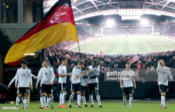 Emre Can of Germany C9 celebrates the fifth goal with his team mates during the FIFA 2018 World Cup Qualifier between Germany and Azerbaijan at...