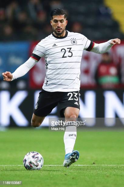 Emre Can of Germany controls the ball during the UEFA Euro 2020 Qualifier between Germany and Northern Ireland at Commerzbank Arena on November 19,...