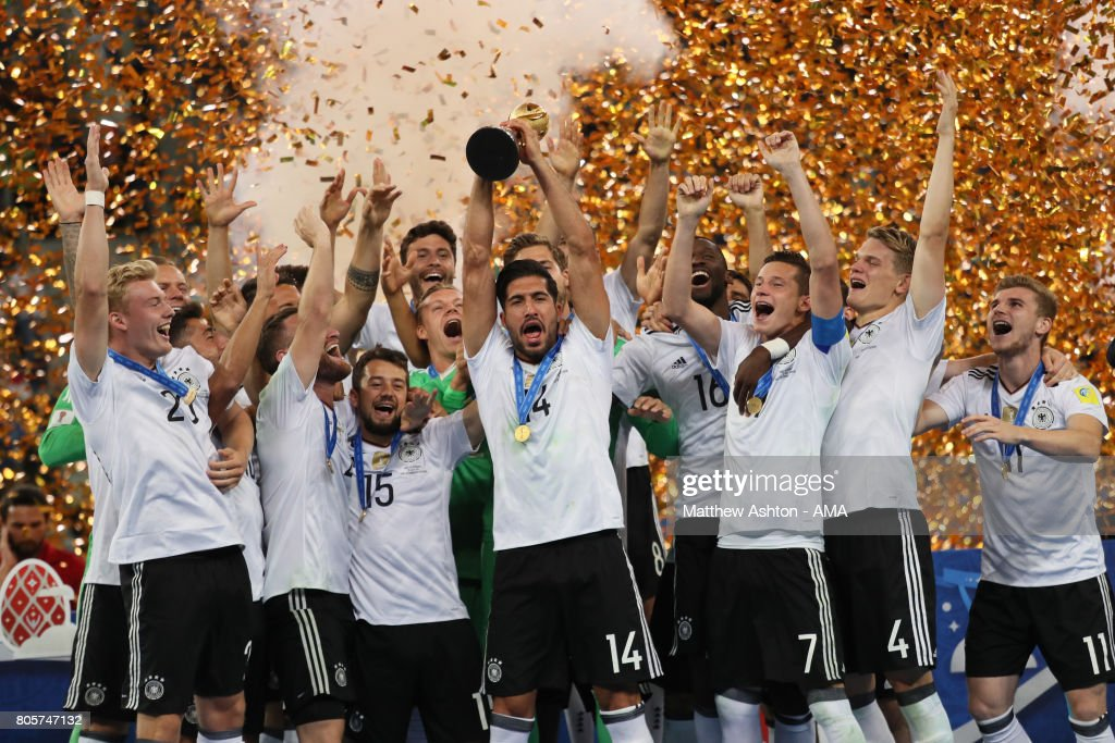 Emre Can of Germany lifts the trophy with his team-mates at the end of the FIFA Confederations Cup Russia 2017 Final match between Chile and Germany at Saint Petersburg Stadium on July 2, 2017 in Saint Petersburg, Russia.