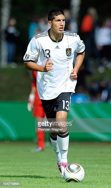 Emre Can of Germany runs with the ball during the U17 international friendly match between Germany and Israel at Park stadium on September 17 2010 in...