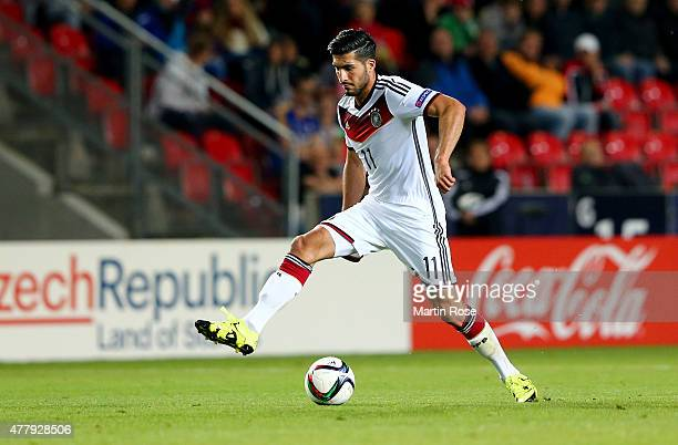 Emre Can of Germany runs with the ball during the UEFA European Under21 Group A match between Germany and Denmark at Eden Stadium on June 20 2015 in...