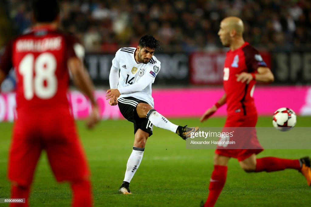 Emre Can of Germany scores the 5th goal during the FIFA 2018 World Cup Qualifier between Germany and Azerbaijan at Fritz-Walter-Stadion on October 8, 2017 in Kaiserslautern, Rhineland-Palatinate.