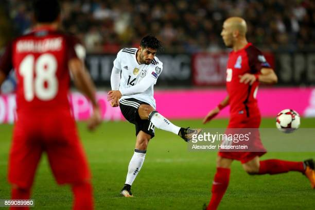 Emre Can of Germany scores the 5th goal during the FIFA 2018 World Cup Qualifier between Germany and Azerbaijan at FritzWalterStadion on October 8...