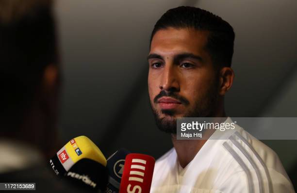 Emre Can of Germany speaks to the media ahead of a training session at Millerntor Stadium on September 04 2019 in Hamburg Germany