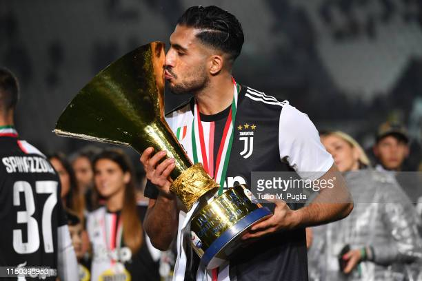 Emre Can of Juventus celebrates during the awards ceremony after winning the Serie A Championship during the Serie A match between Juventus and...
